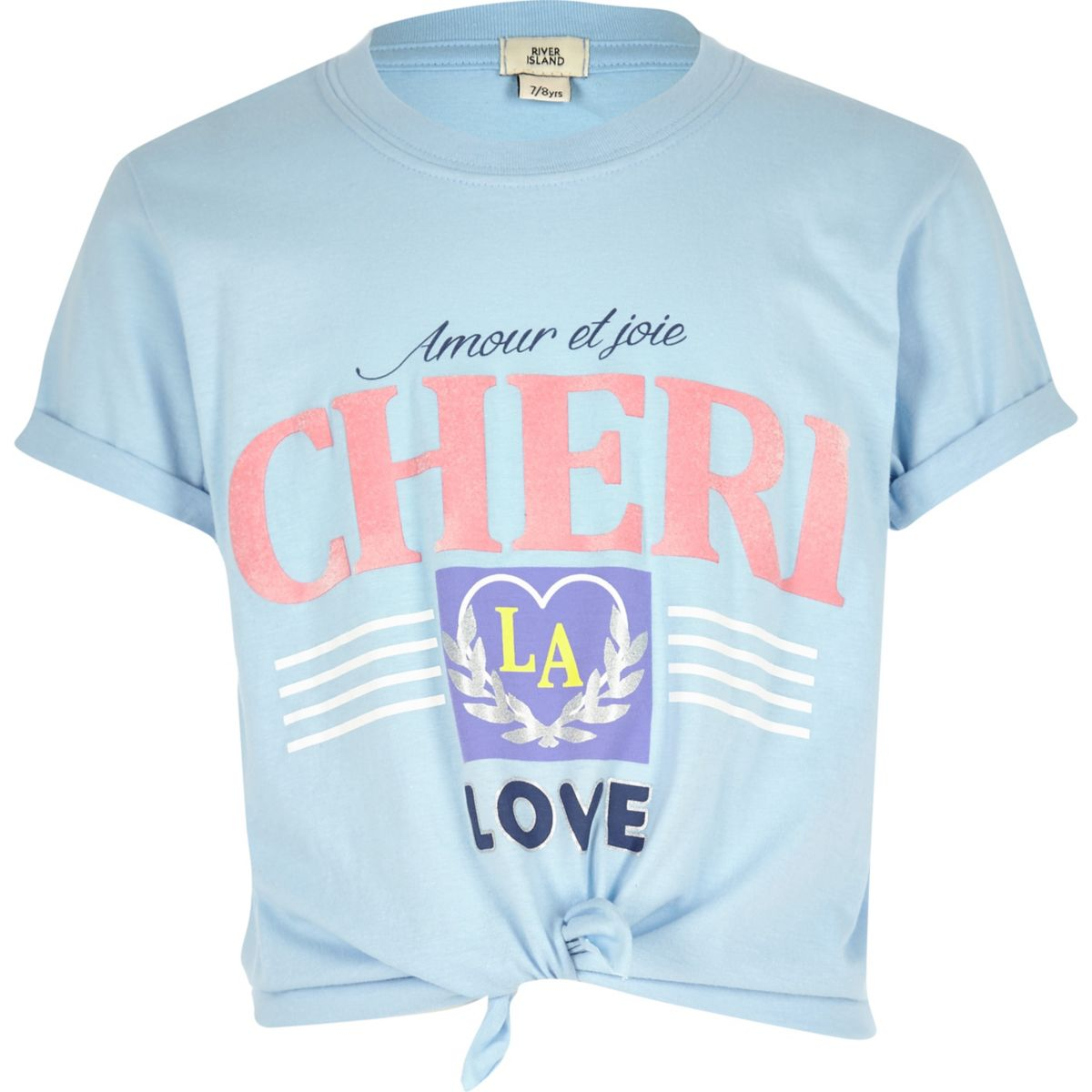 Girls blue 'cheri' knot front T-shirt