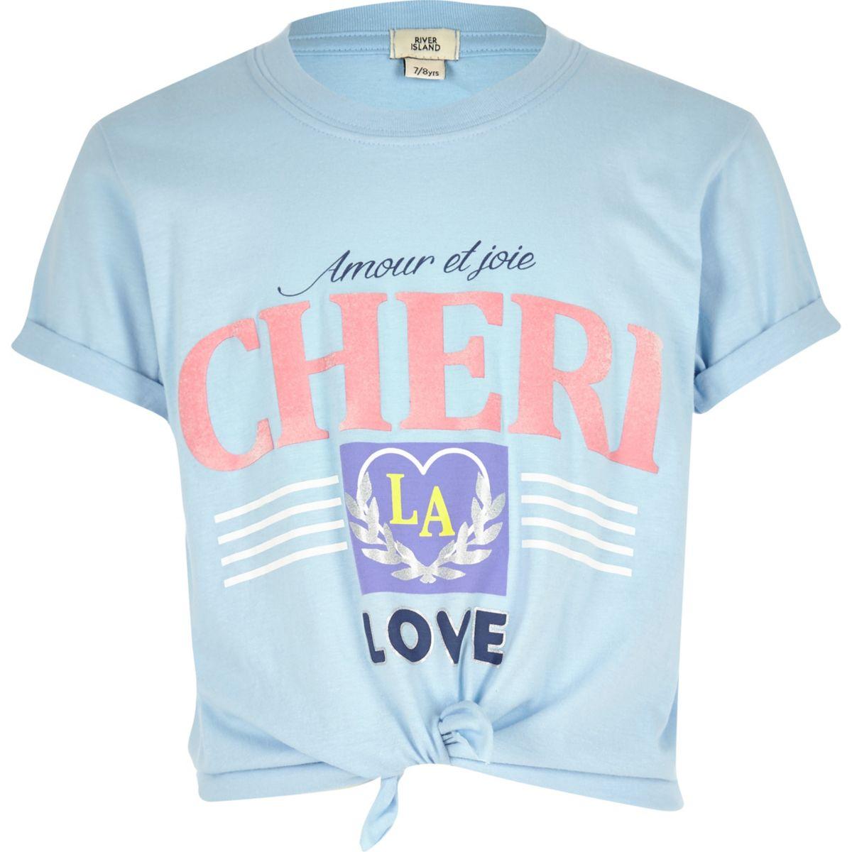 T-shirt « Chéri » bleu noué devant pour fille