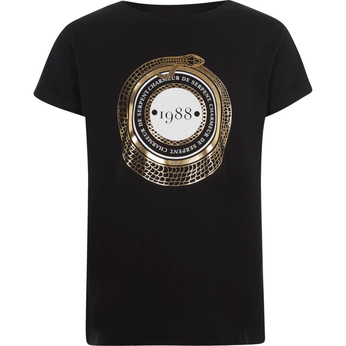 Girls black '1988' short sleeve T-shirt