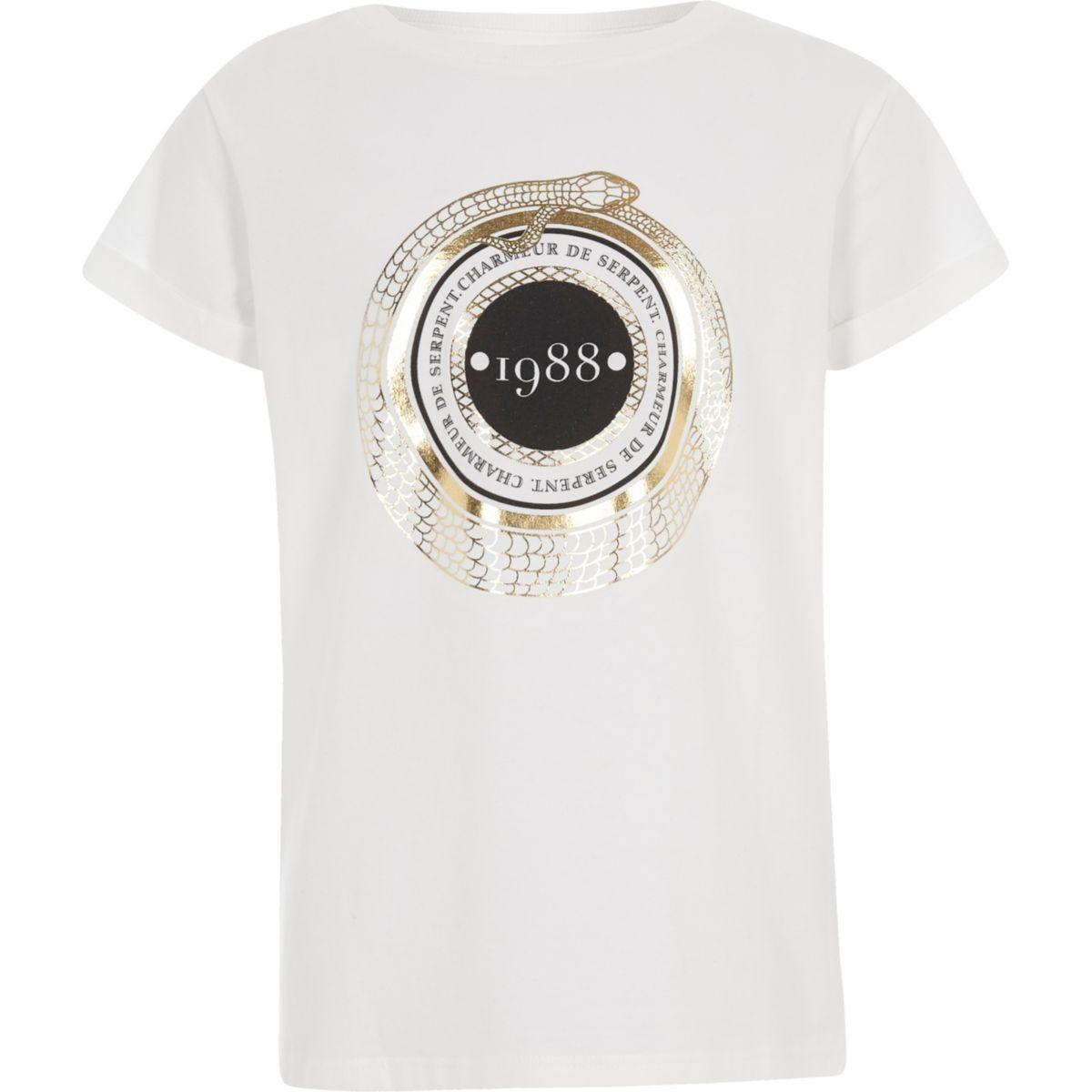 Girls white '1988' short sleeve T-shirt