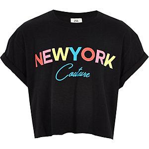 Girls black 'New York' crop T-shirt