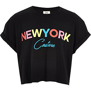 """Schwarzes T-Shirt mit """"New York""""-Schriftzug"""
