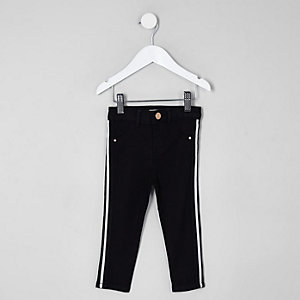 Mini girls black Molly stripe mid rise jeans