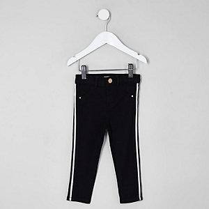 Mini - Molly - Zwarte jeans met streep en halfhoge taille voor meisjes
