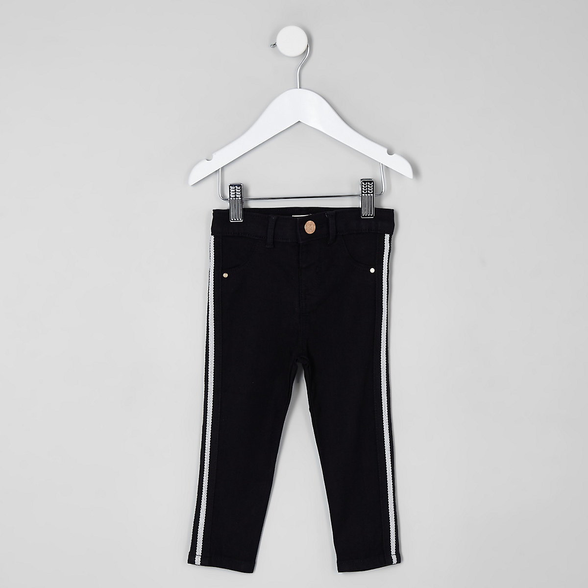 Mini girls black Molly stripe mid rise jeans