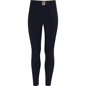 Girls navy RI ponte leggings