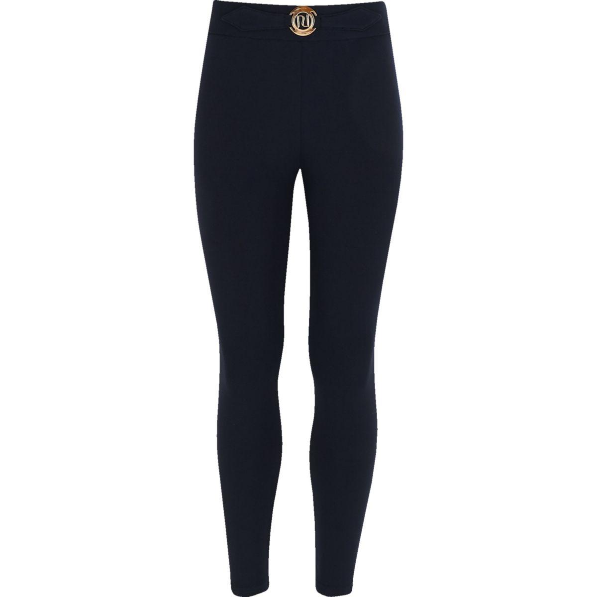 Girls navy RI ponte leggings