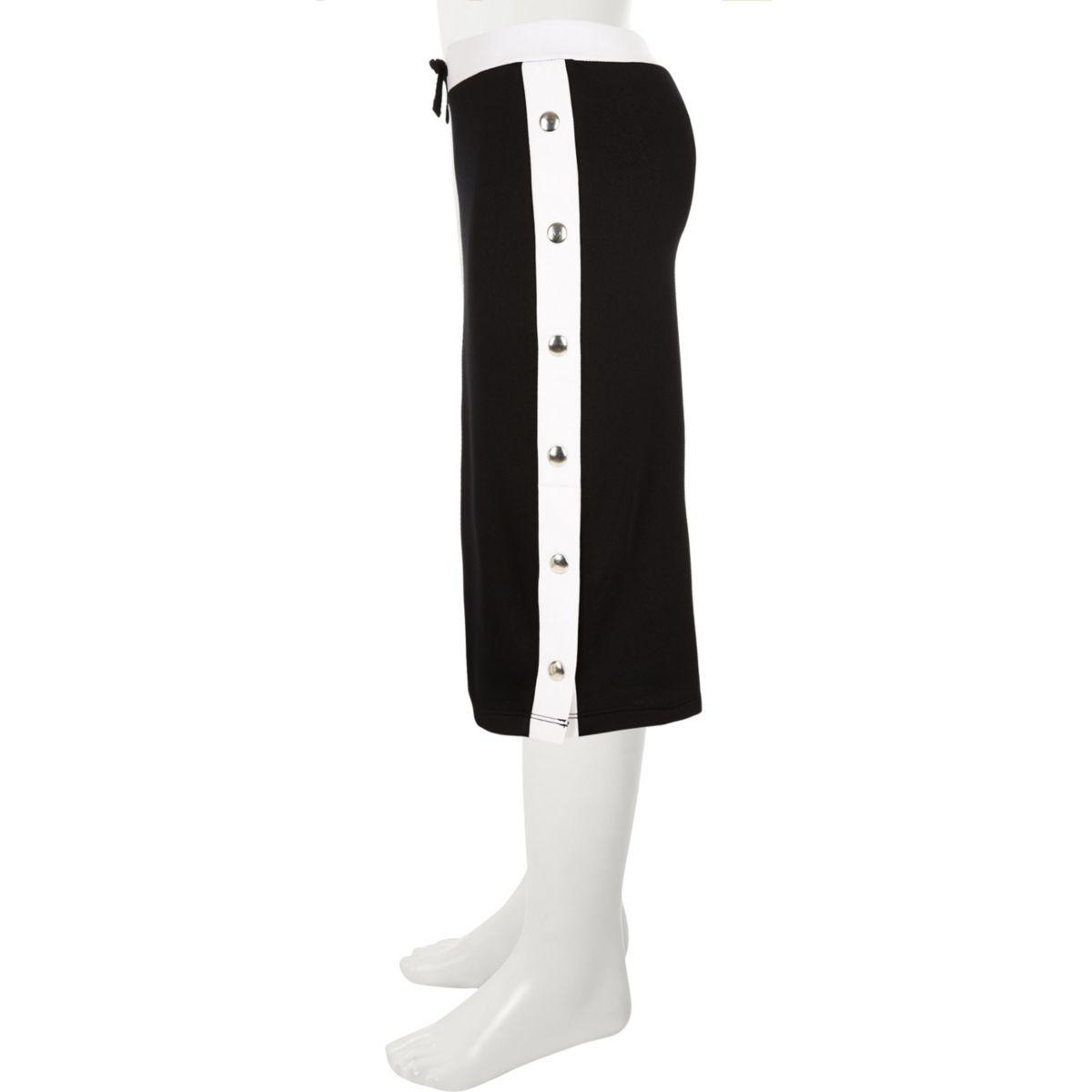 Girls black popper tube skirt