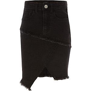 Jupe fourreau asymétrique en jean noir pour fille