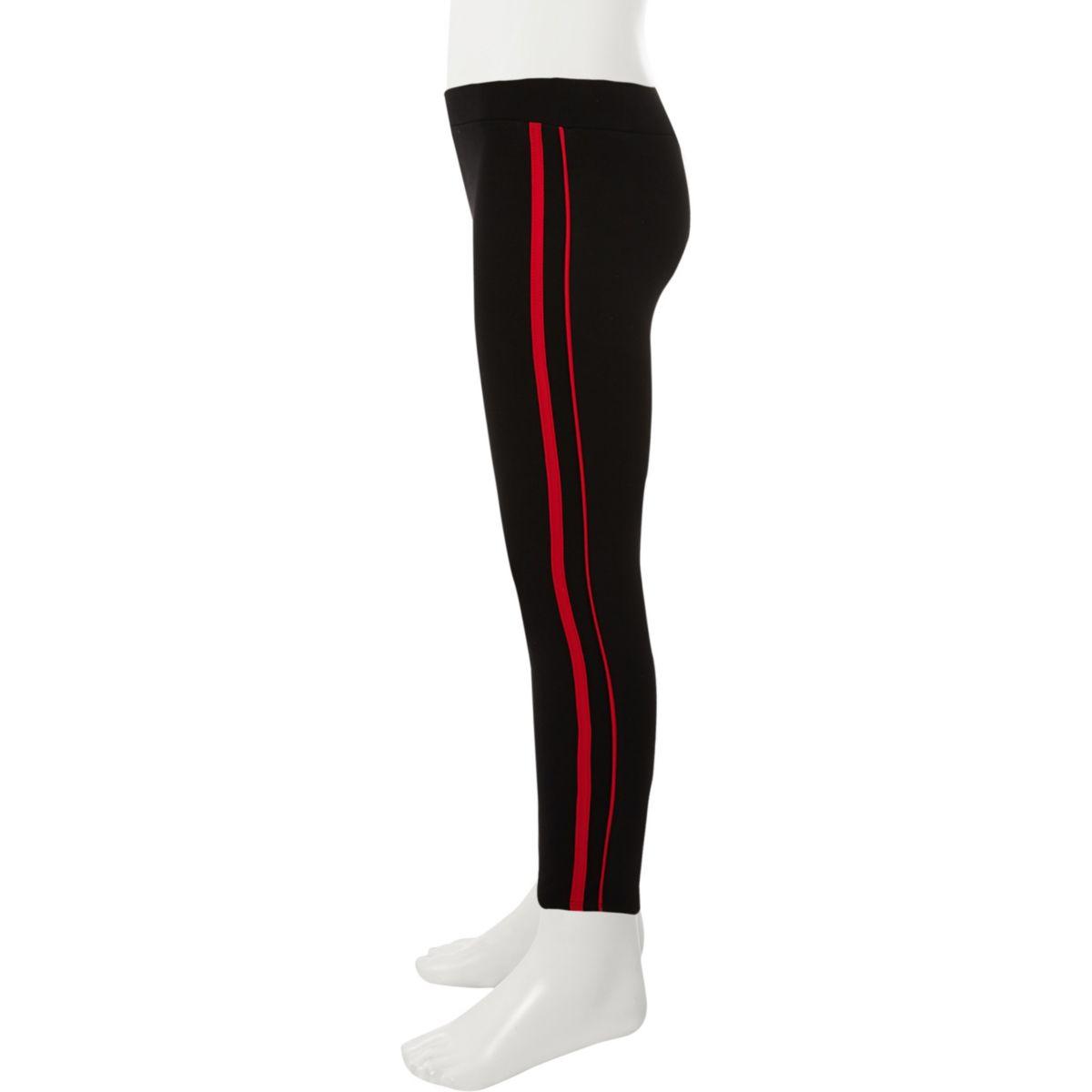Girls black side stripe leggings