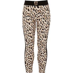Braune Leggings mit Leopardenmuster