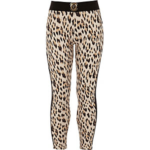 Girls brown leopard print leggings