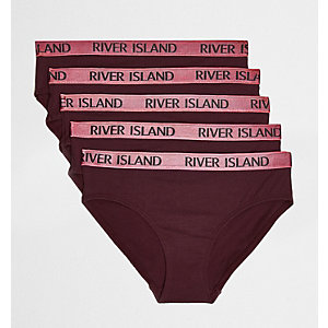 Girls dark red RI briefs multipack