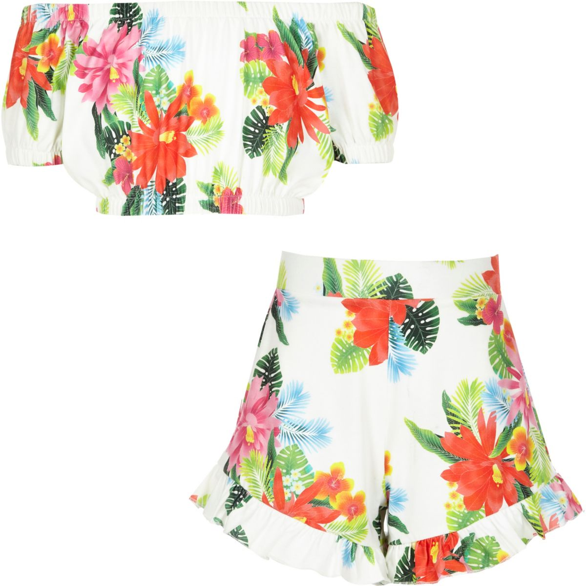 Girls floral print jersey bardot outfit