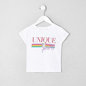 Mini - Wit T-shirt met luipaard- en regenboogprint voor meisjes