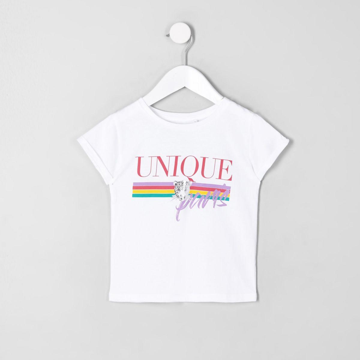 Mini girls white leopard rainbow T-shirt