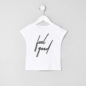 Mini - T-shirt met 'feel good'-print voor meisjes
