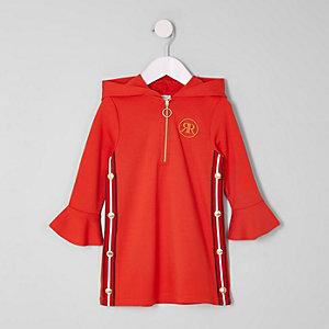 Mini - Rode jurk met capuchon en drukknopen opzij voor meisjes