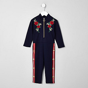 Mini girls navy floral popper side jumpsuit