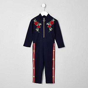 Mini - Marineblauwe jumpsuit met bloemenprint en drukknopen opzij voor meisjes