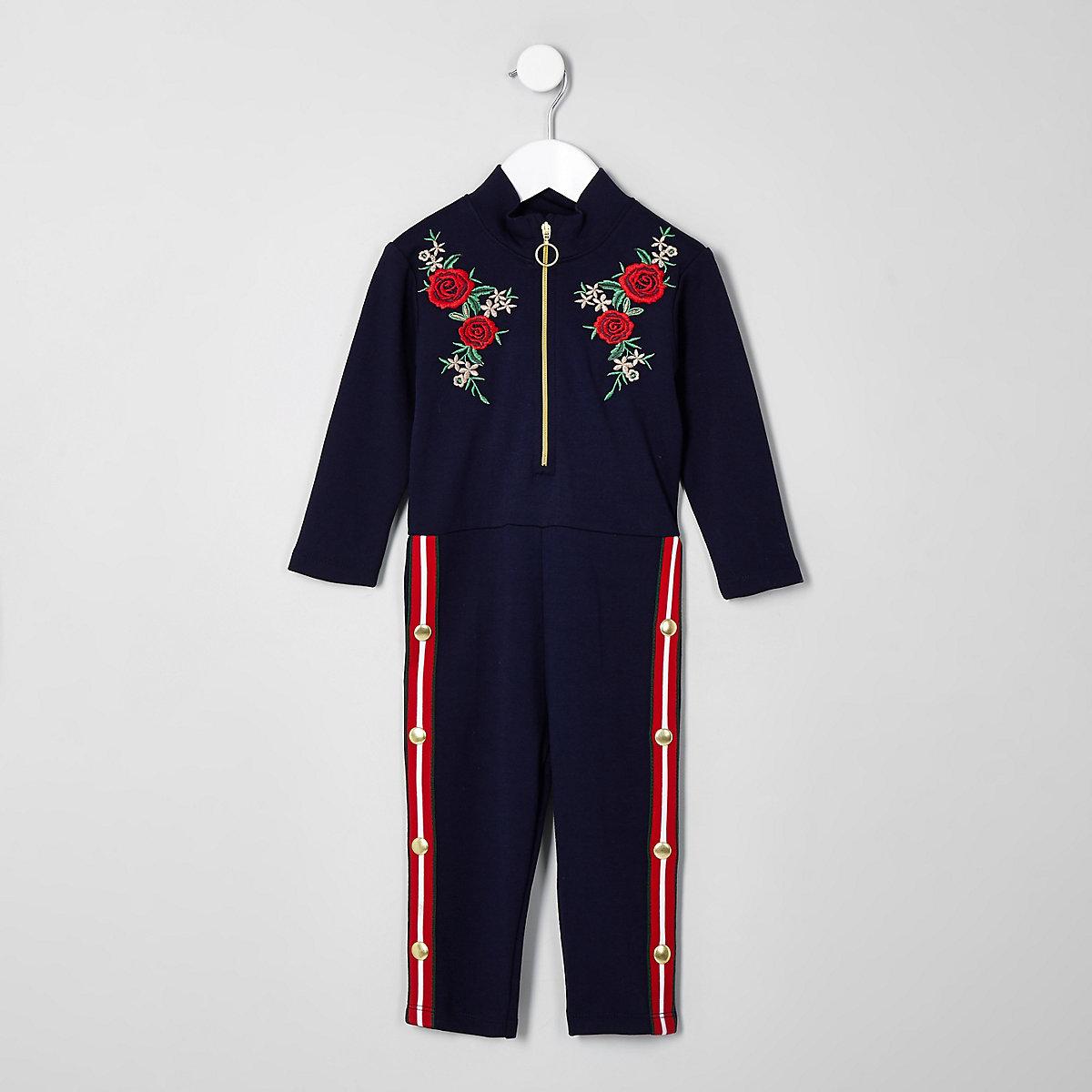 Mini girls navy floral popper side jumpsuit
