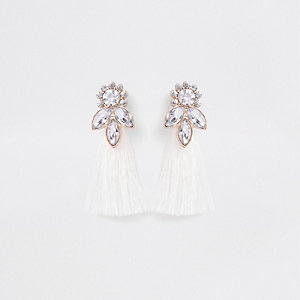 Girls white gold tone jewel tassel earrings