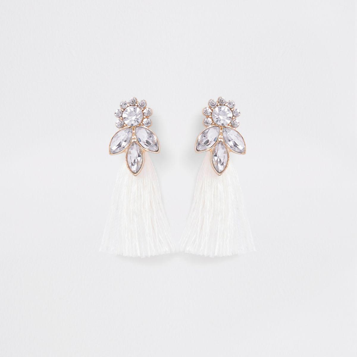 Girls white gold tone jewel tassel earrings