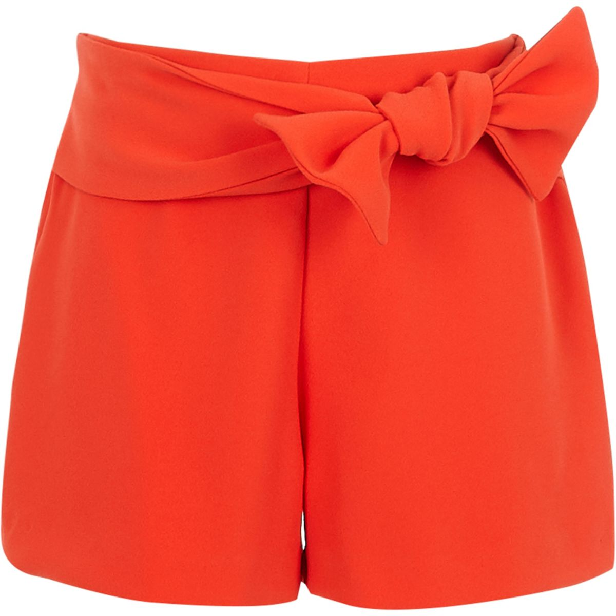 Girls red bow front shorts