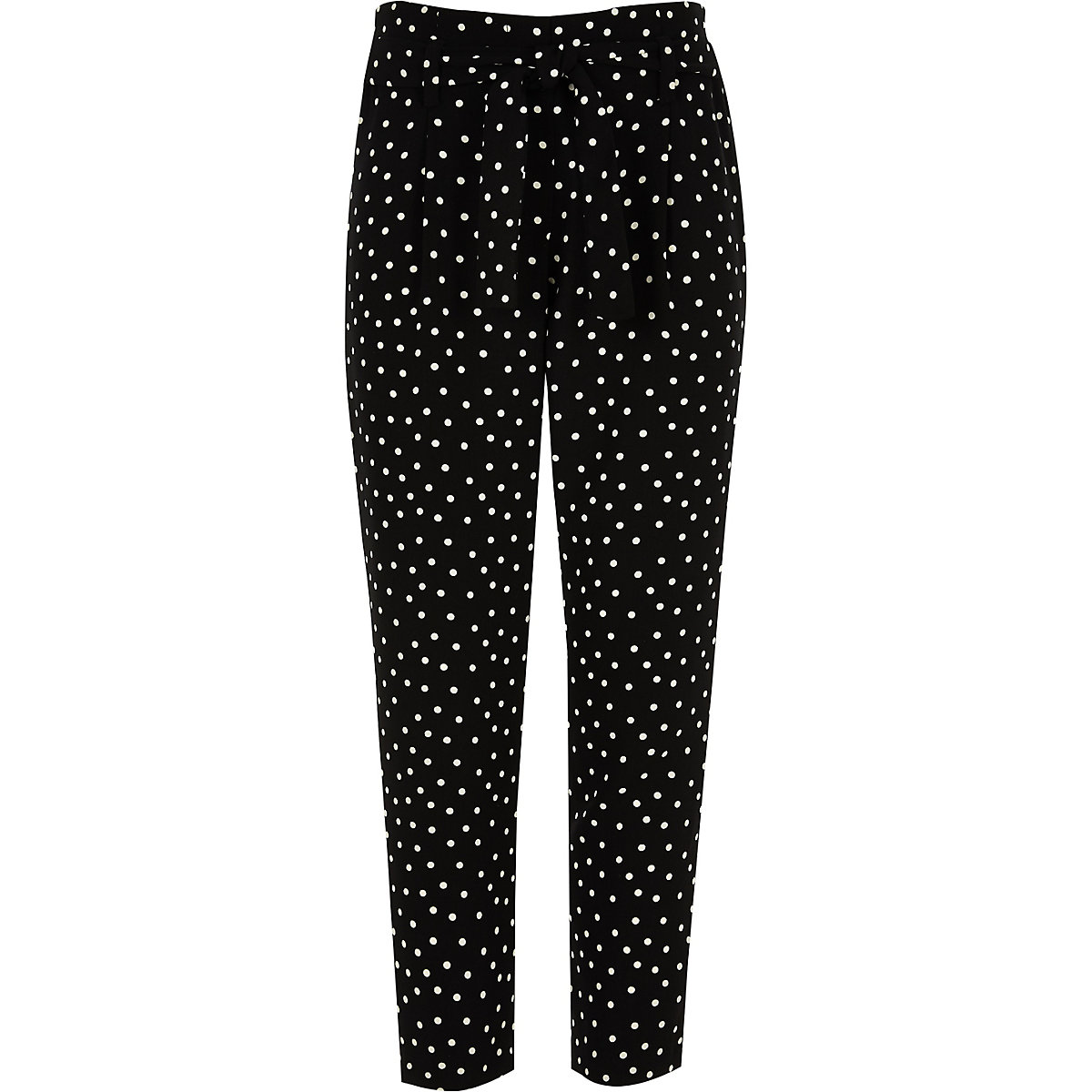 Girls black polka dot tapered trousers