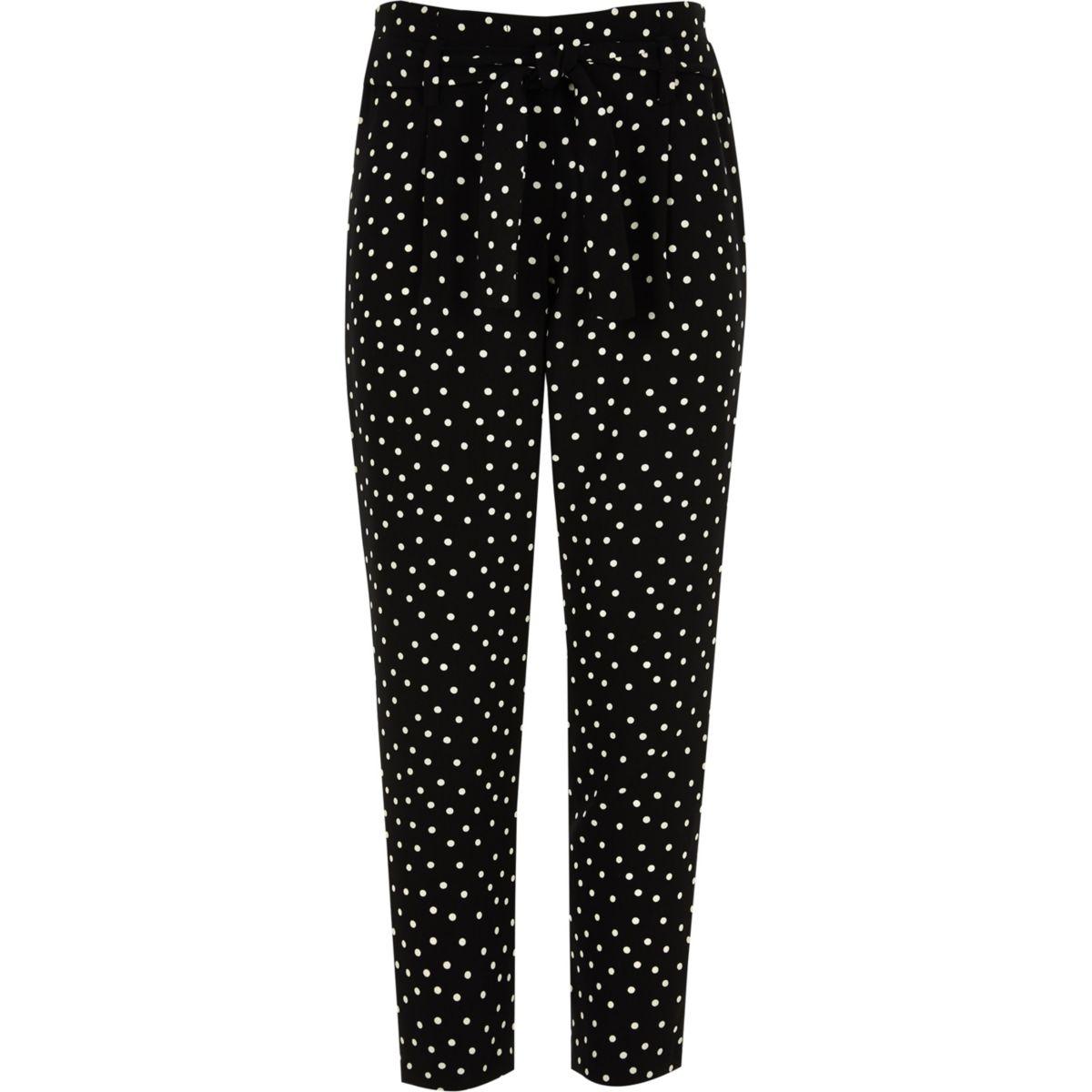 Girls black polka dot tapered trousers