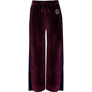 Girls purple velour side stripe pants