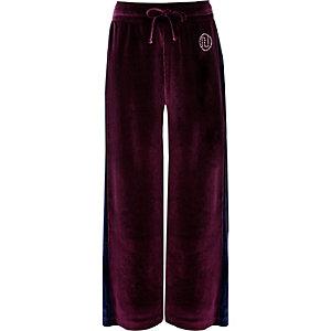 Paarse velours broek met streep opzij voor meisjes