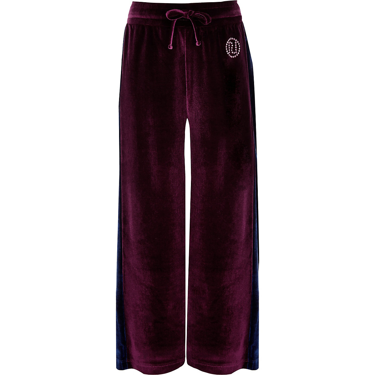 Girls purple velour side stripe trousers