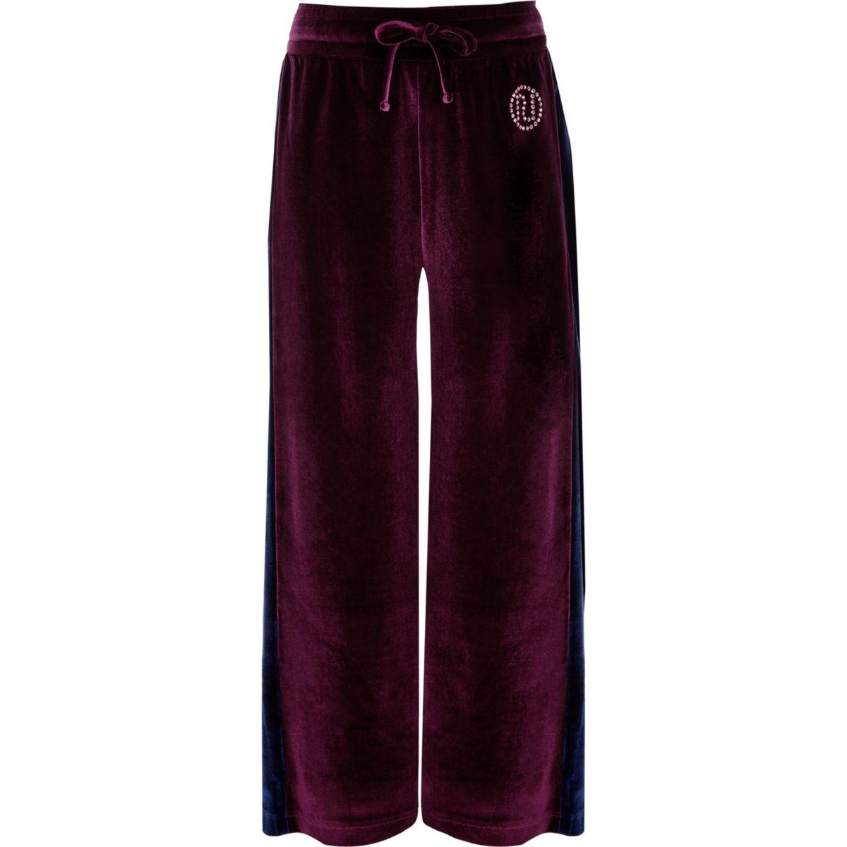 Girls purple velour side stripe trousers