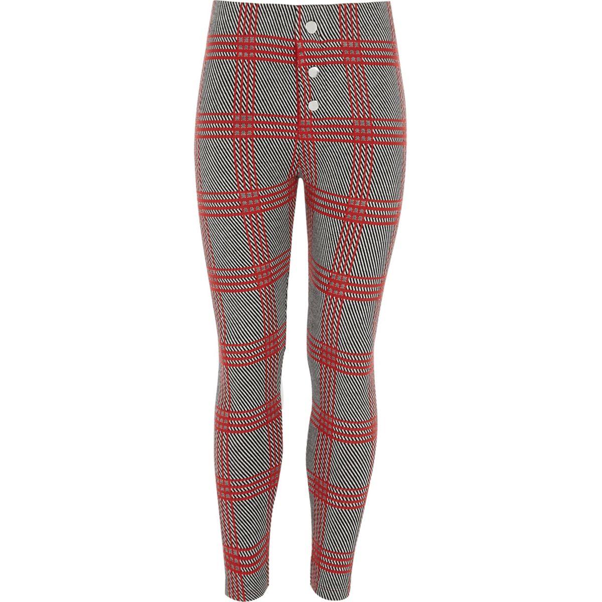 Girls red check leggings