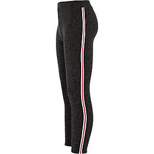 Girls black glitter tape side leggings