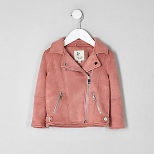 Mini girls pink faux suede biker jacket