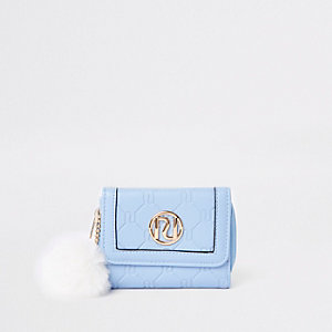 Girls blue pom pom trifold purse