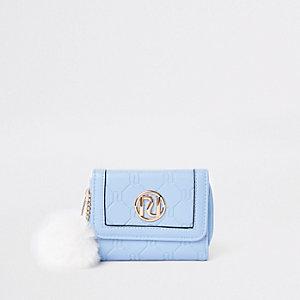 Porte-monnaie à trois volets bleu avec pompon pour fille