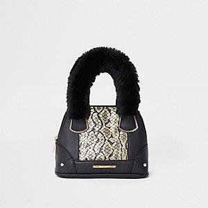 Schwarze Tote Bag in Schlangenlederoptik