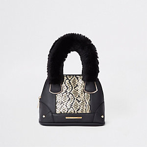 Girls black snake print faux tote bag