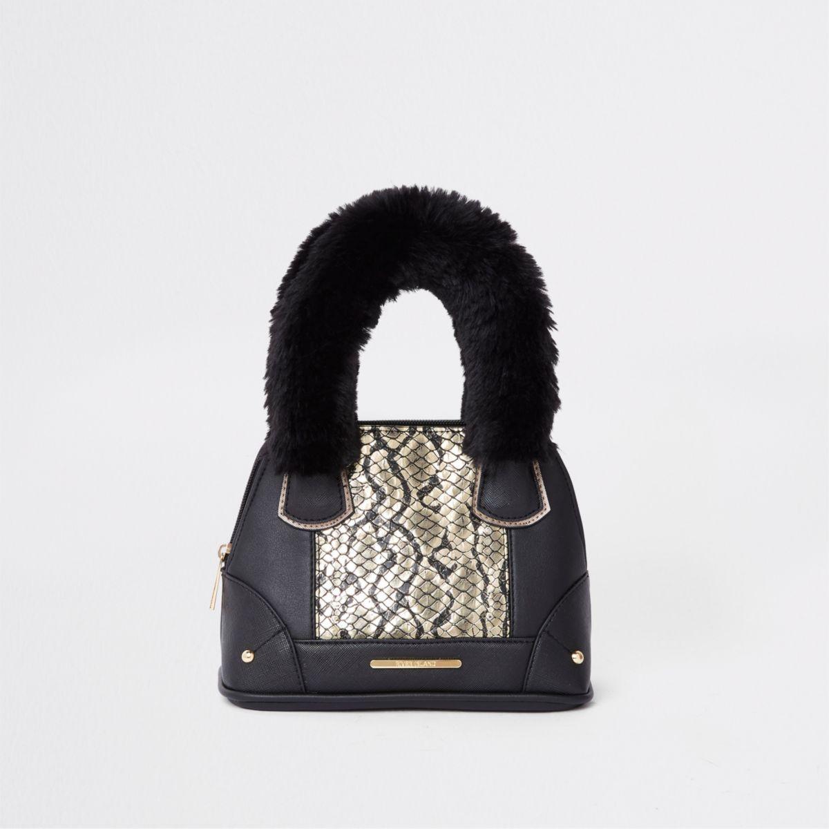 Girls black snake print faux tote bag