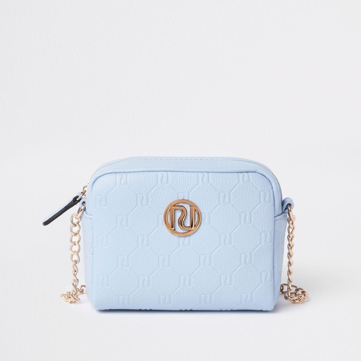 Girls blue RI monogram cross body chain bag