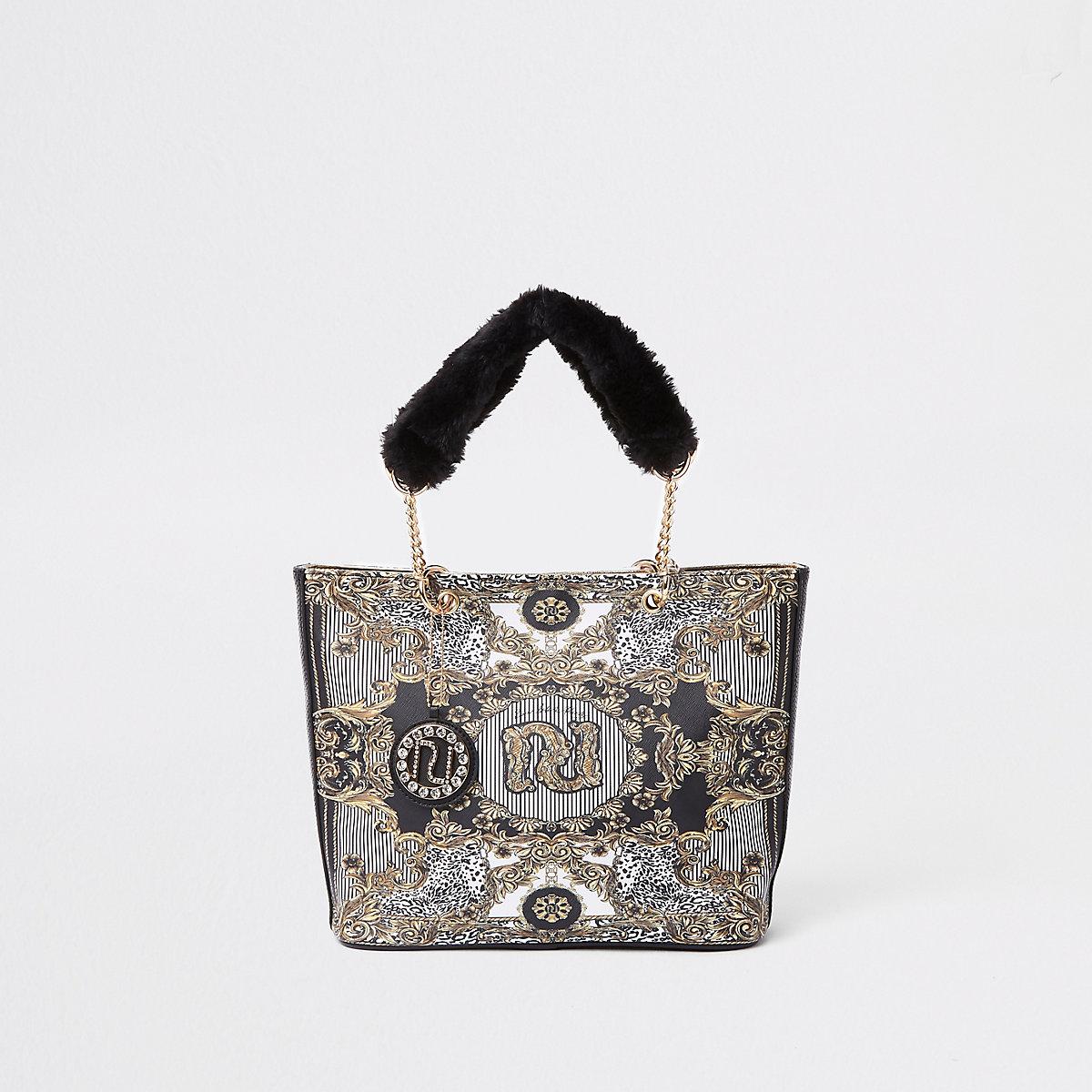 RI 30 girls black faux fur handle shopper bag