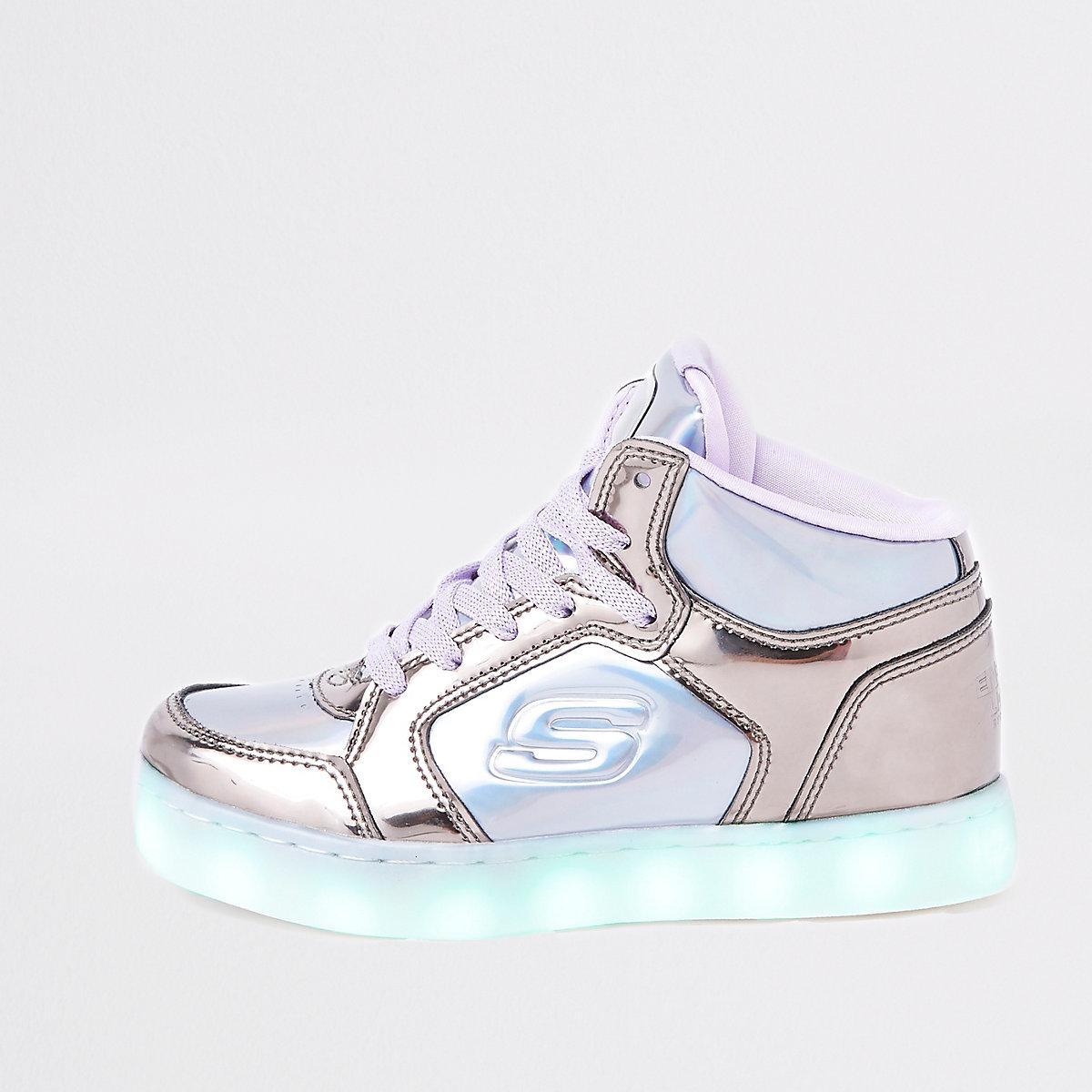 Girls purple Skechers light-up hi top sneaker