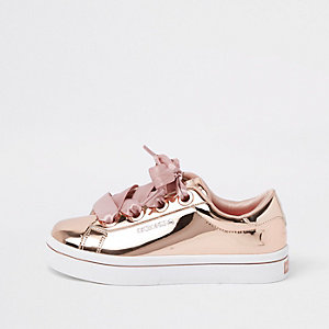 Girls Skechers rose gold hi top sneakers