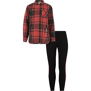Ensemble legging et chemise à carreaux rouge pour fille