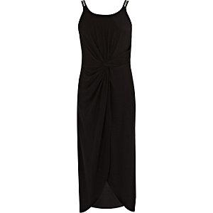Zwarte midi-jurk met RI-logo en knoop voor meisjes