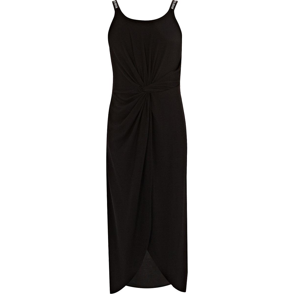 Girls black RI knot front midi dress