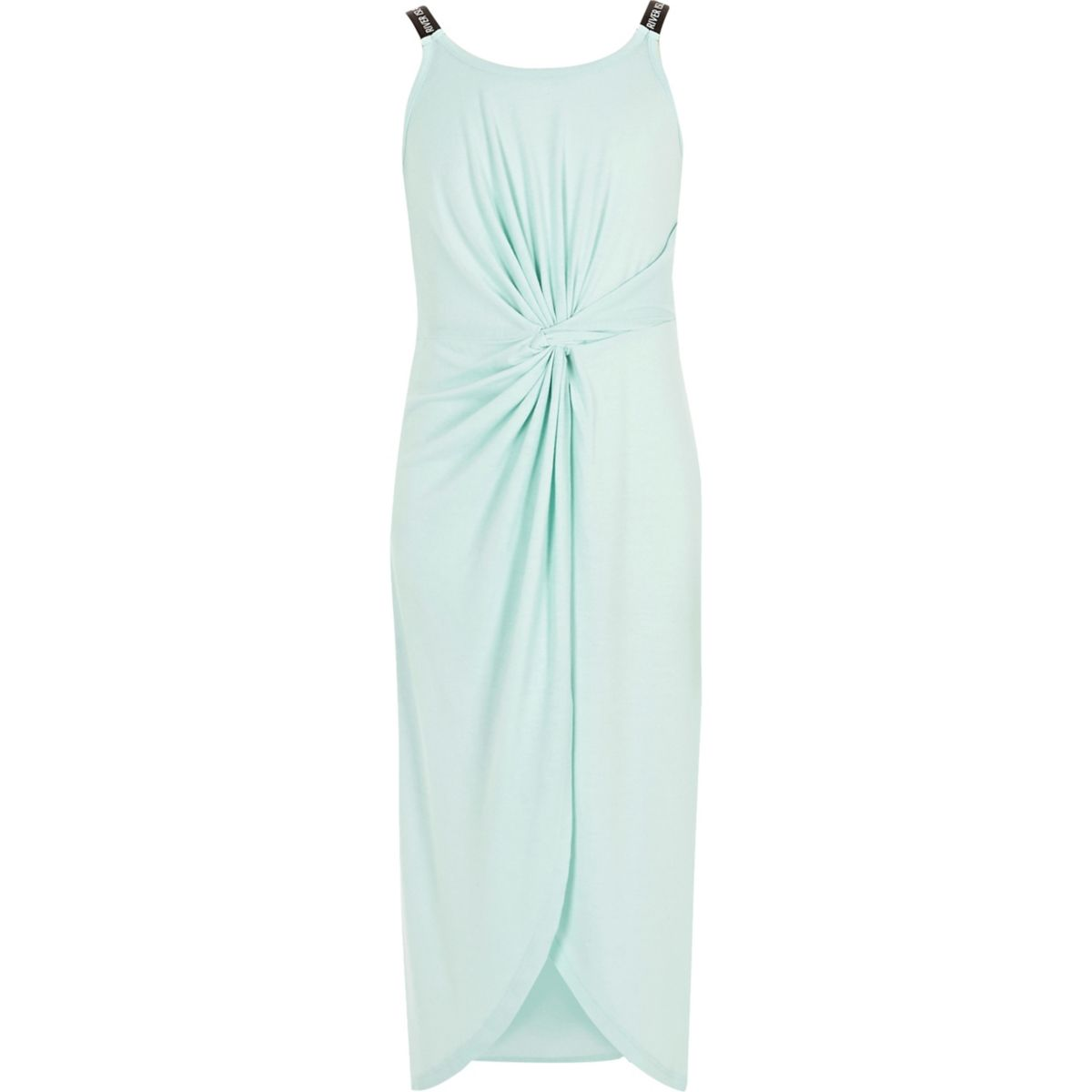 Girls light green RI knot front midi dress